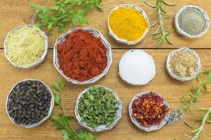 Different spices in shiny bowls