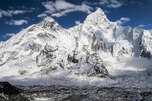 view of the Everest and Nuptse from Kala Patthar