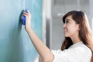 asian beautiful woman clean blackboard photo