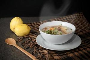 steaming rice soup