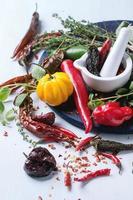 variedad de chiles y hierbas