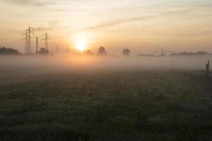 Urban sunrise panorama photo