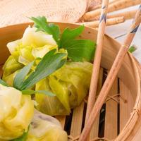 cabbage with rice bags photo