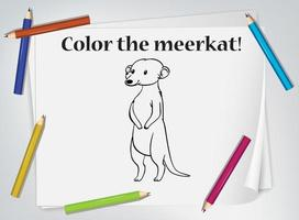 Children meerkat coloring worksheet vector