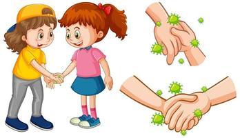 Kids touching hands spreading virus