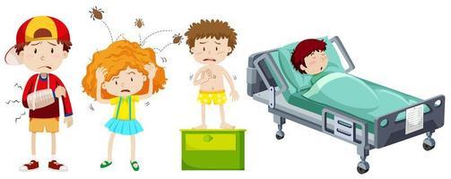 Sick children  elements set  vector