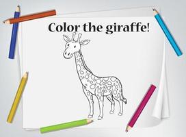 foglio da colorare per bambini giraffa