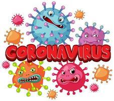 cartellonistica coronavirus con cellule di parole e virus