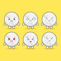 personagens de lua kawaii com várias expressões