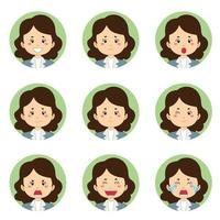 Businesswoman Avatar With Various Expressions vector