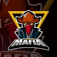 Esports team mafia cowboy man gaming logo  vector