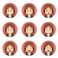 Avatar de service client féminin avec diverses expressions vecteur