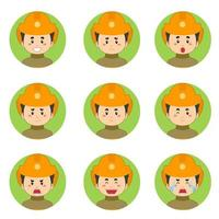 Firefighters Avatar With Various Expressions vector
