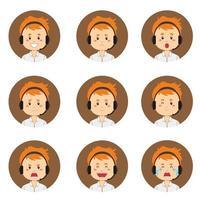 avatar de service client masculin avec diverses expressions vecteur