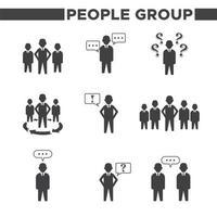 9 pessoas simples grupo ícones vetor
