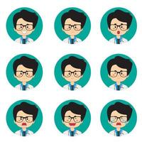 Male Doctor Avatar With Various Expressions