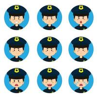 Policeman Avatar With Various Expressions vector