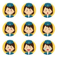 Stewardess Avatar With Various Expressions vector