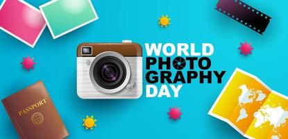 cartel del día mundial de la fotografía con elementos fotográficos vector