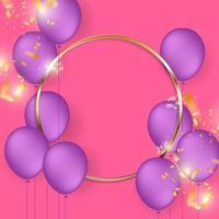 cornice del cerchio d'oro con palloncini viola sul rosa