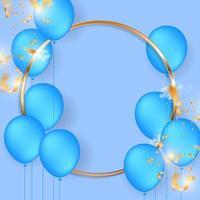 Marco de círculo dorado con globos azules y confeti