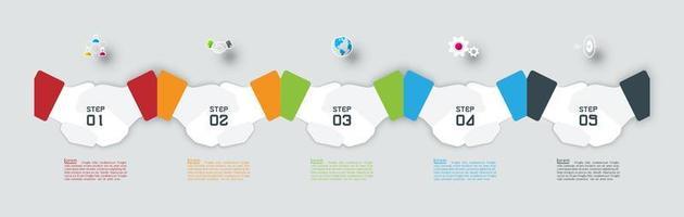 horizontale papieren handdruk infographic