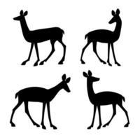 Set of deer silhouettes vector