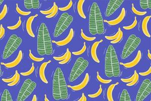 Pattern with Banana and Leaves on Blue