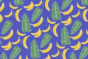 padrão com banana e folhas em azul