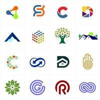 16 colorful logo set vector