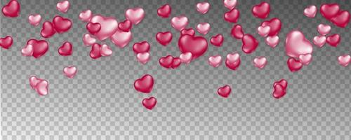 Pink falling hearts on transparent pattern