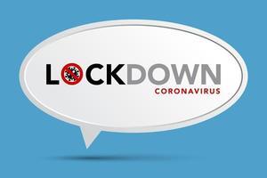 affiche de verrouillage du coronavirus avec bulle de dialogue sur bleu