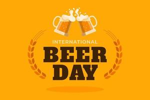 International beer day poster with mugs on orange vector