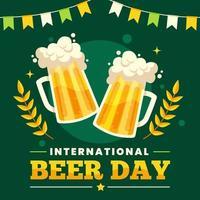 manifesto della giornata internazionale della birra con tazze su verde