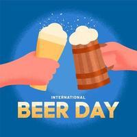 manifesto della giornata internazionale della birra con le mani che tengono la birra