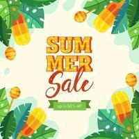affiche de popsicle et de feuilles de vente d'été