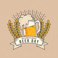 International beer day emblem with beer, banner and wheat vector