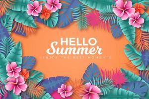 manifesto colorato estate tropicale cornice foglia e fiore