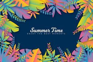affiche d'été cadre dégradé coloré