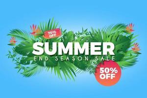 manifesto promozionale di vendita estate mazzo colorato foglia