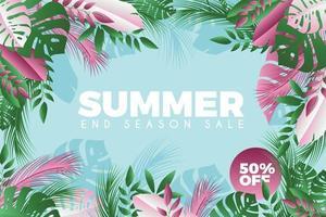 affiche de vente d'été de fleurs et de feuilles vertes et roses
