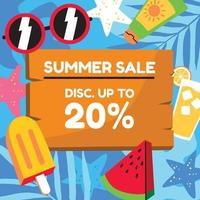 Colorful cartoon style summer sale sign