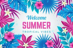 affiche d'été fleur et feuille rose vif et bleu