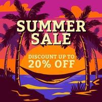 Summer sale beach sunset poster vector