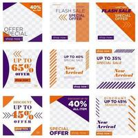Orange and purple sale social media post set