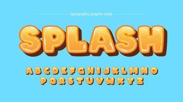 typographie caricaturale arrondie bulle orange brillant