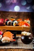 Seafood, Japanese sushi on the old wooden table