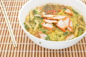 Egg noodle soup with red roast pork, top view photo