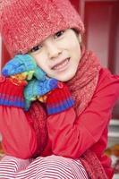 Retrato de otoño niña sonriente
