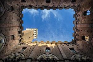 Mangia's Tower. The Tower of Piazza del Palio. Siena Italy photo